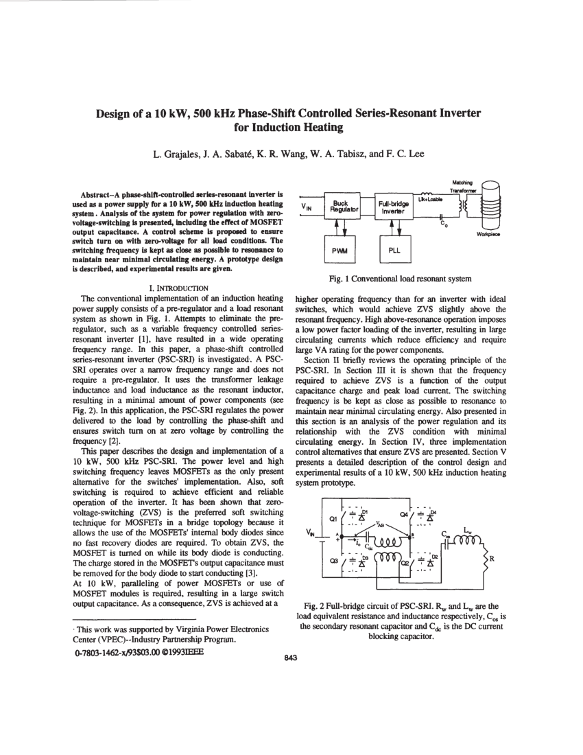 hight resolution of  pdf design of a 10 kw 500 khz phase shift controlled series resonant inverter for induction heating