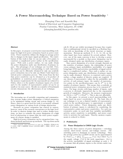 small resolution of high level macro modeling and estimation techniques for switching activity and power consumption request pdf