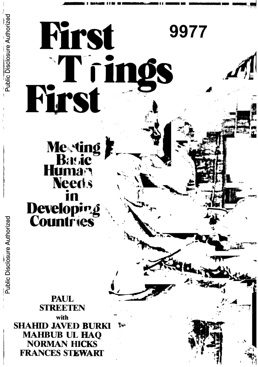 (PDF) First Things First: Meeting Basic Human Needs in