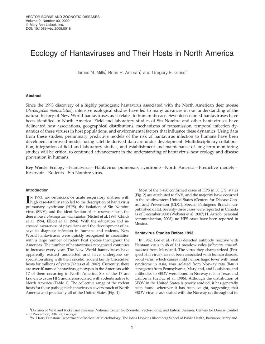 PDF) Ecology of Hantaviruses and Their Hosts in North America