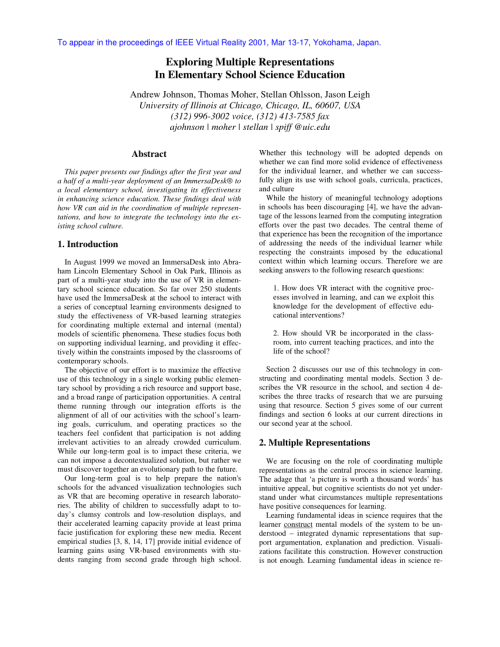 small resolution of PDF) Exploring multiple representations in elementary school science  education