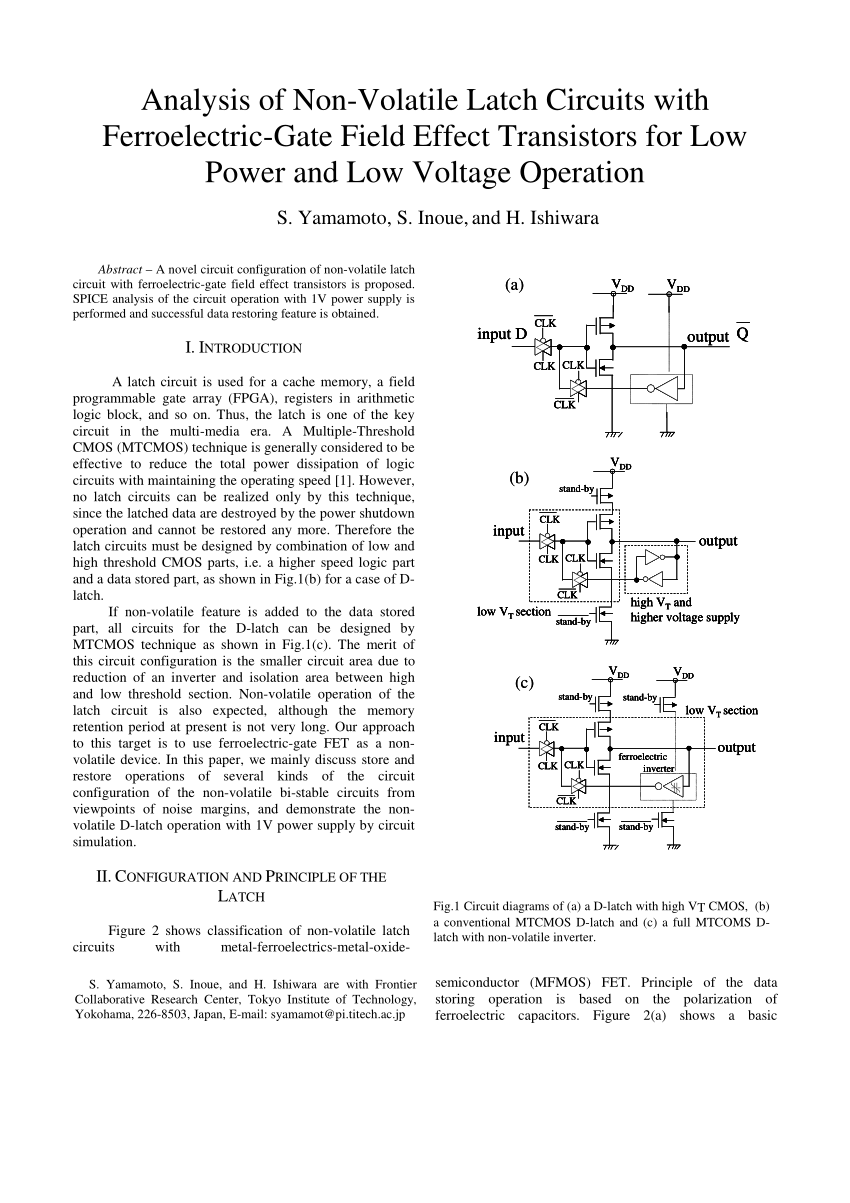 medium resolution of  pdf analysis of non volatile latch circuits with ferroelectric gatefield effect transistors for low power and low voltage operation