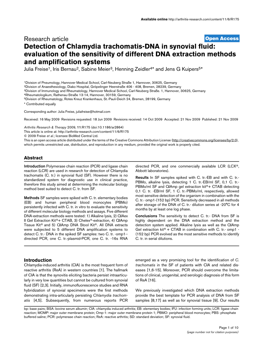 (Pdf) Detection Of Chlamydia Trachomatis-Dna In Synovial Fluid: Evaluation  Of The Sensitivity Of Different Dna Extraction Methods And Amplification  Systems