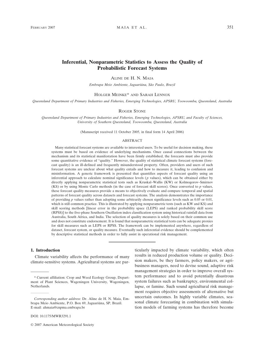 (PDF) Inferential, Nonparametric Statistics to Assess the