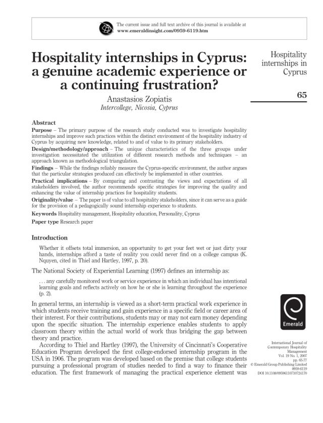 PDF) Hospitality internships in Cyprus: A genuine academic