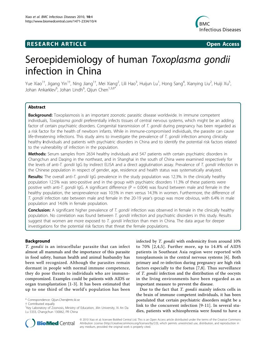 PDF) Seroepidemiology of human Toxoplasma gondii infection in China