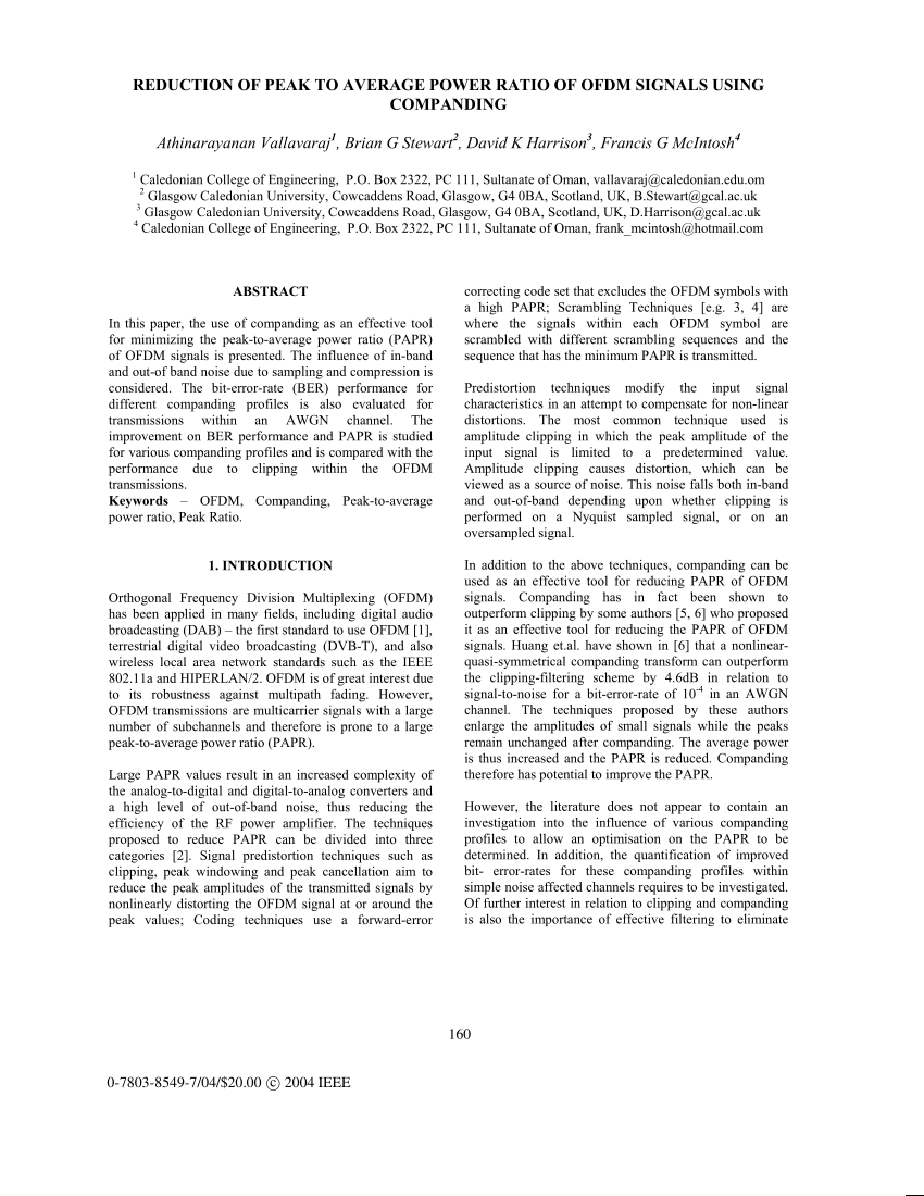 hight resolution of  pdf reduction of peak to average power ratio of ofdm symbols using phasing schemes combined with companding