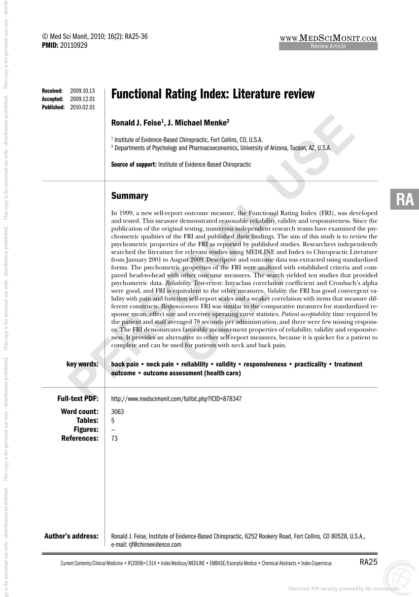 (PDF) Functional Rating Index: literature review