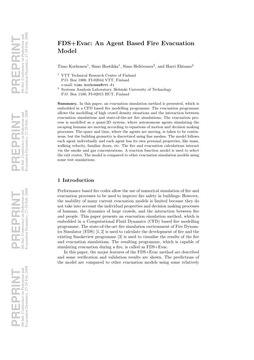 (PDF) FDS+Evac: an agent based fire evacuation model