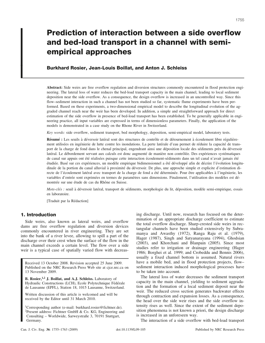 pdf prediction of interaction between a side overflow and bed load transport in a channel with semi empirical approaches