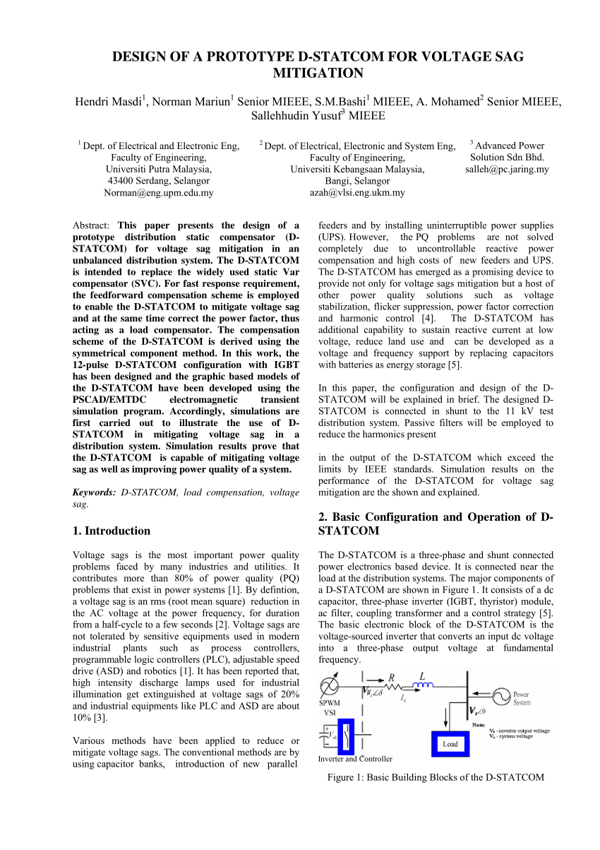 medium resolution of  pdf voltage sag mitigation using a new direct control in d statcom for distribution systems