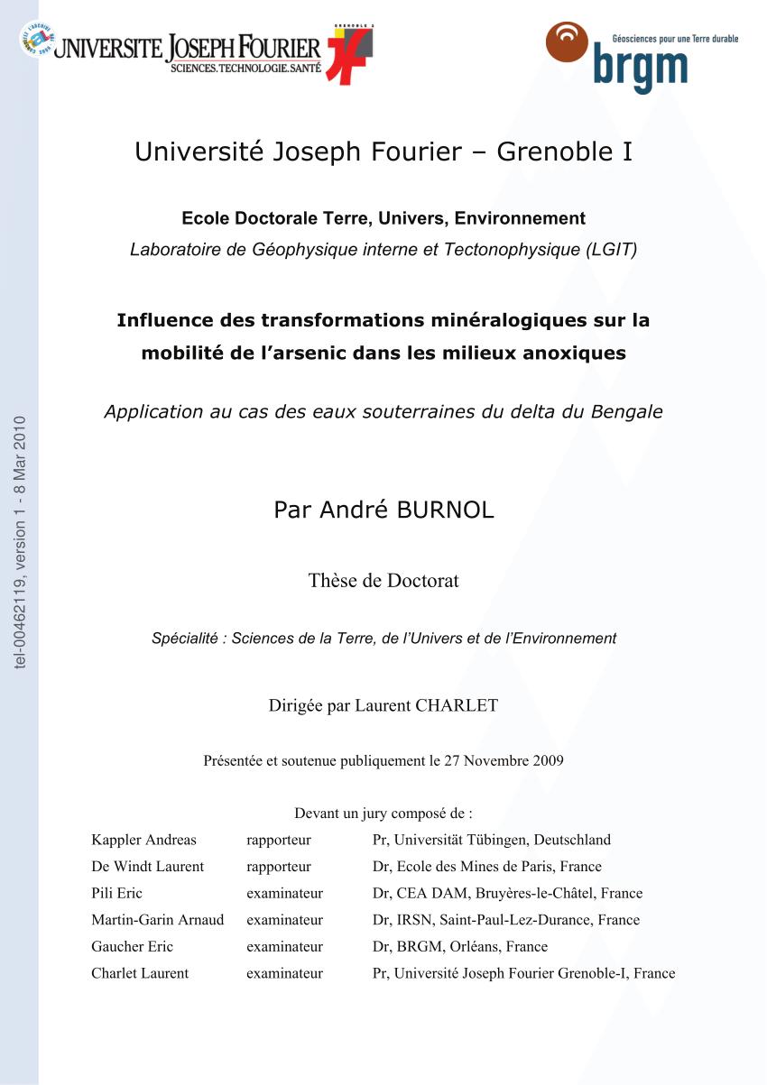 hight resolution of  pdf influence des transformations min ralogiques sur la mobilit de l arsenic dans les milieux anoxiques application au cas des eaux souterraines du