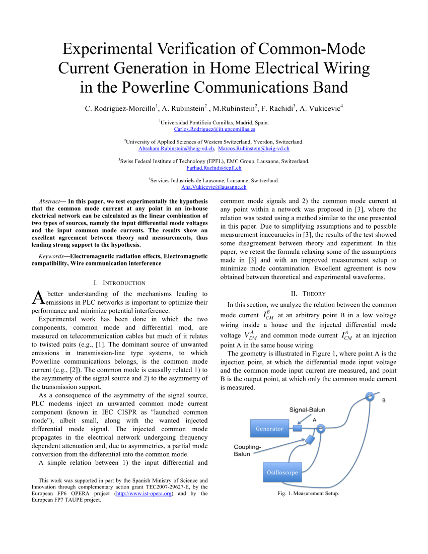 hight resolution of  pdf experimental verification of common mode current generation in home electrical wiring in the powerline communications band
