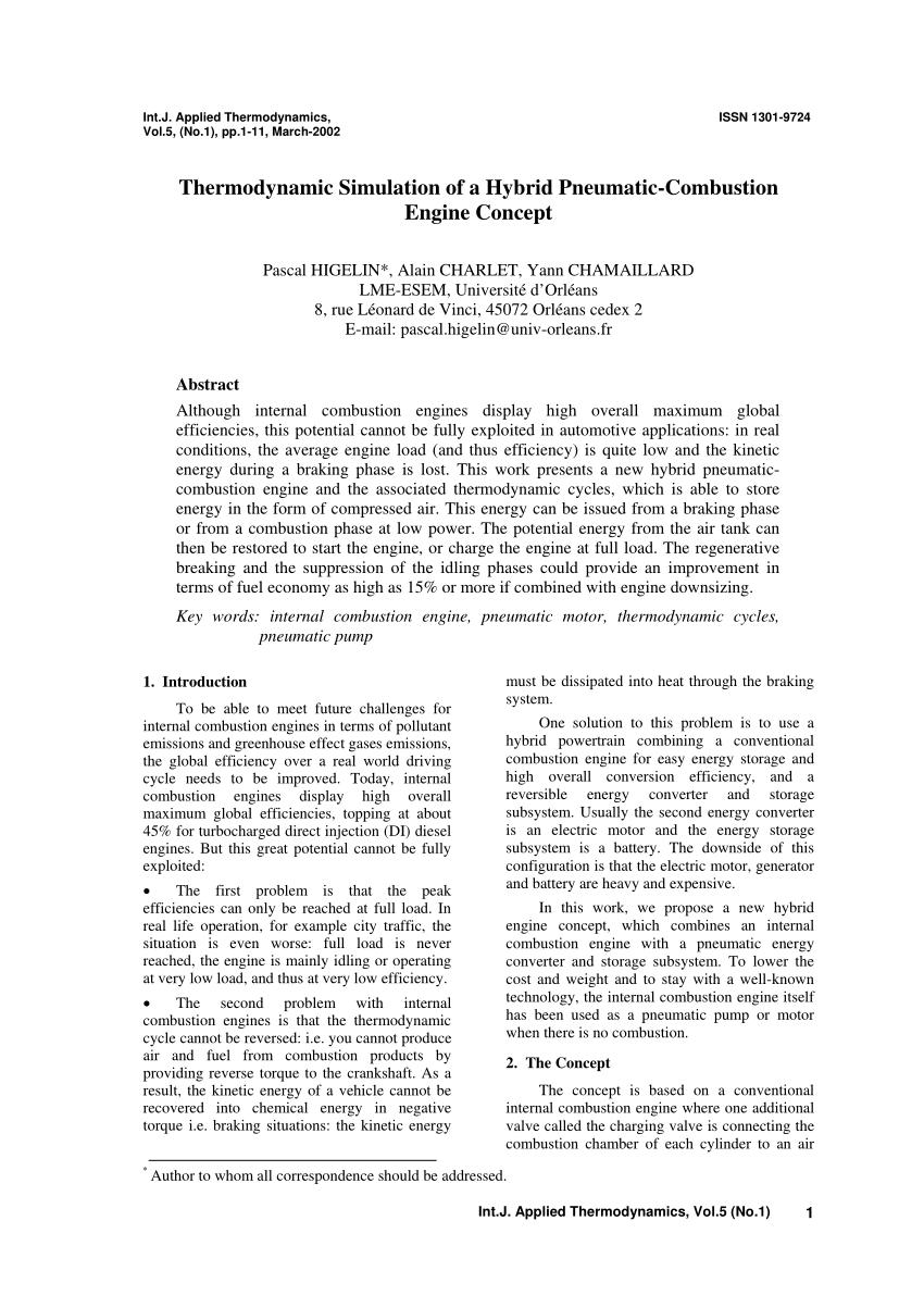 medium resolution of  pdf thermodynamic simulation of a hybrid pneumatic combustion engine concept