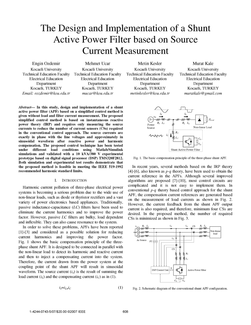 hight resolution of  pdf the design and implementation of a shunt active power filter based on source current measurement