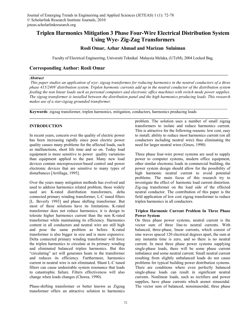 medium resolution of  pdf design of delta primary transposed zigzag secondary dtz transformer to minimize harmonic currents on the three phase electric power distribution