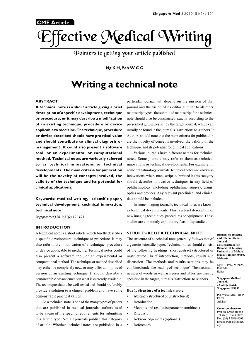 PDF Writing A Technical Note