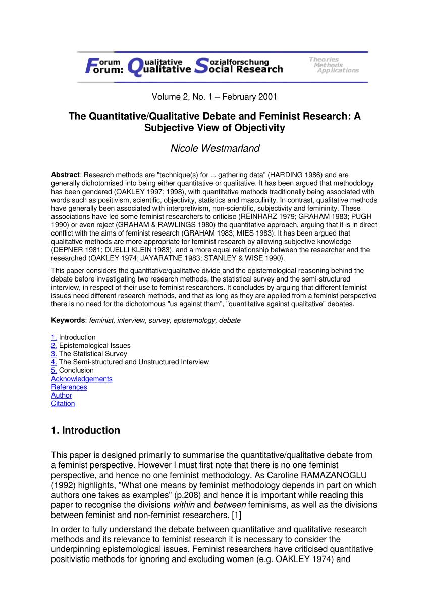 PDF The Quantitative Qualitative Debate And Feminist Research A