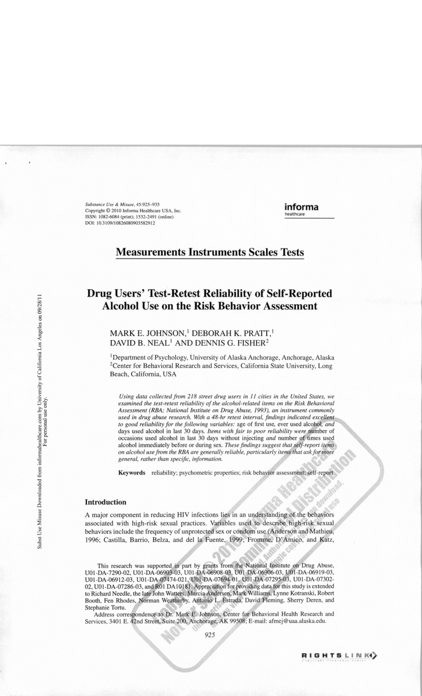 (PDF) Drug Users' Test-Retest Reliability of Self-Reported