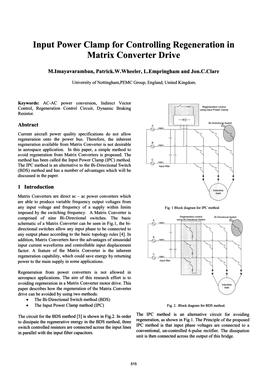 hight resolution of third method for regenerative braking in matrix converter drive more electric aircraft request pdf