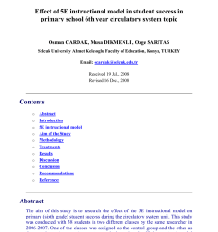 PDF) Effect of 5E instructional model in student success in primary school  6th year circulatory system topic [ 1203 x 850 Pixel ]