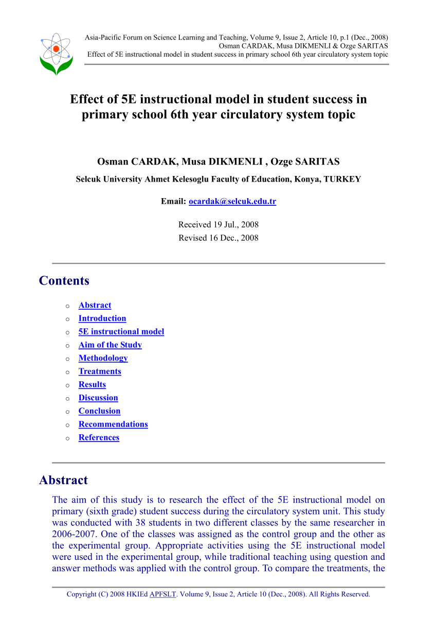 medium resolution of PDF) Effect of 5E instructional model in student success in primary school  6th year circulatory system topic