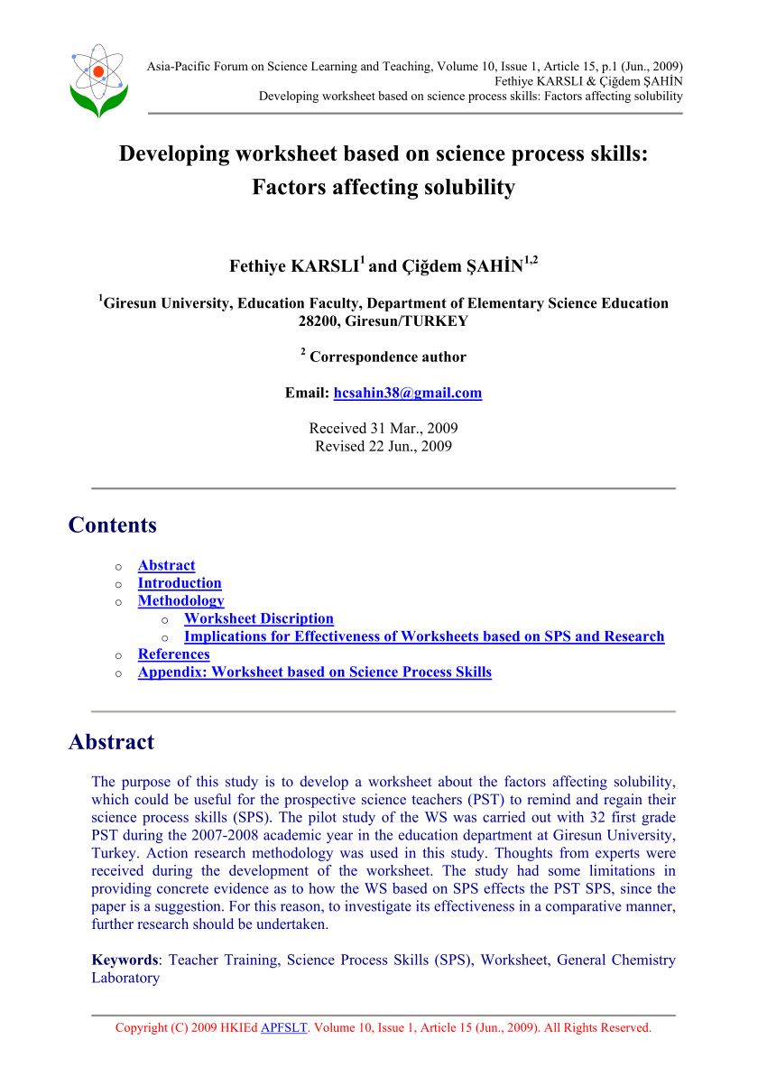 medium resolution of PDF) Developing worksheet based on science process skills: Factors  affecting solubility
