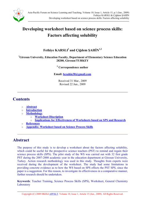 small resolution of PDF) Developing worksheet based on science process skills: Factors  affecting solubility