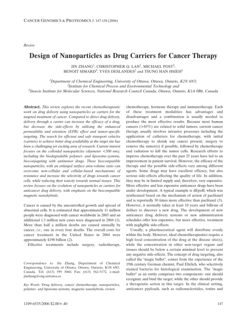 small resolution of  pdf design of nanoparticles as drug carriers for cancer therapy