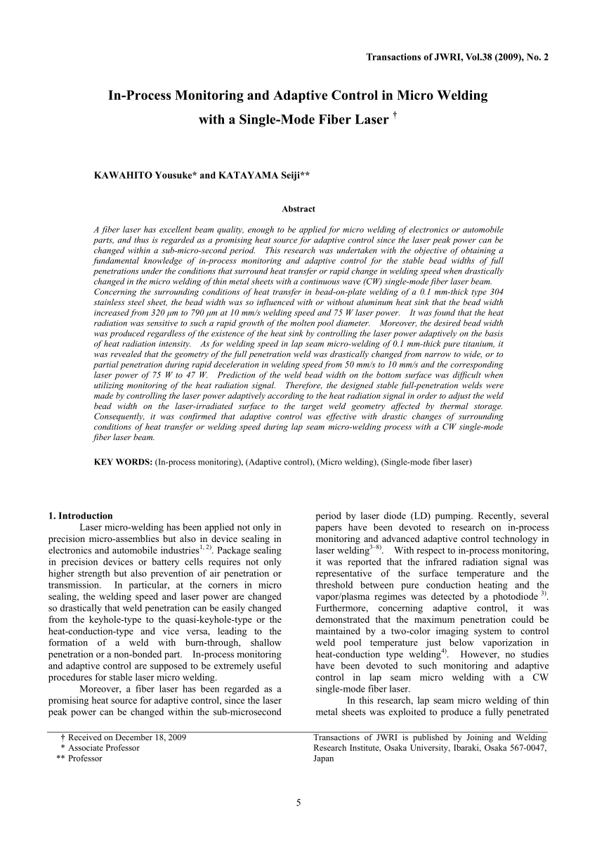hight resolution of  pdf in process monitoring and adaptive control in micro welding with a single mode fiber laser