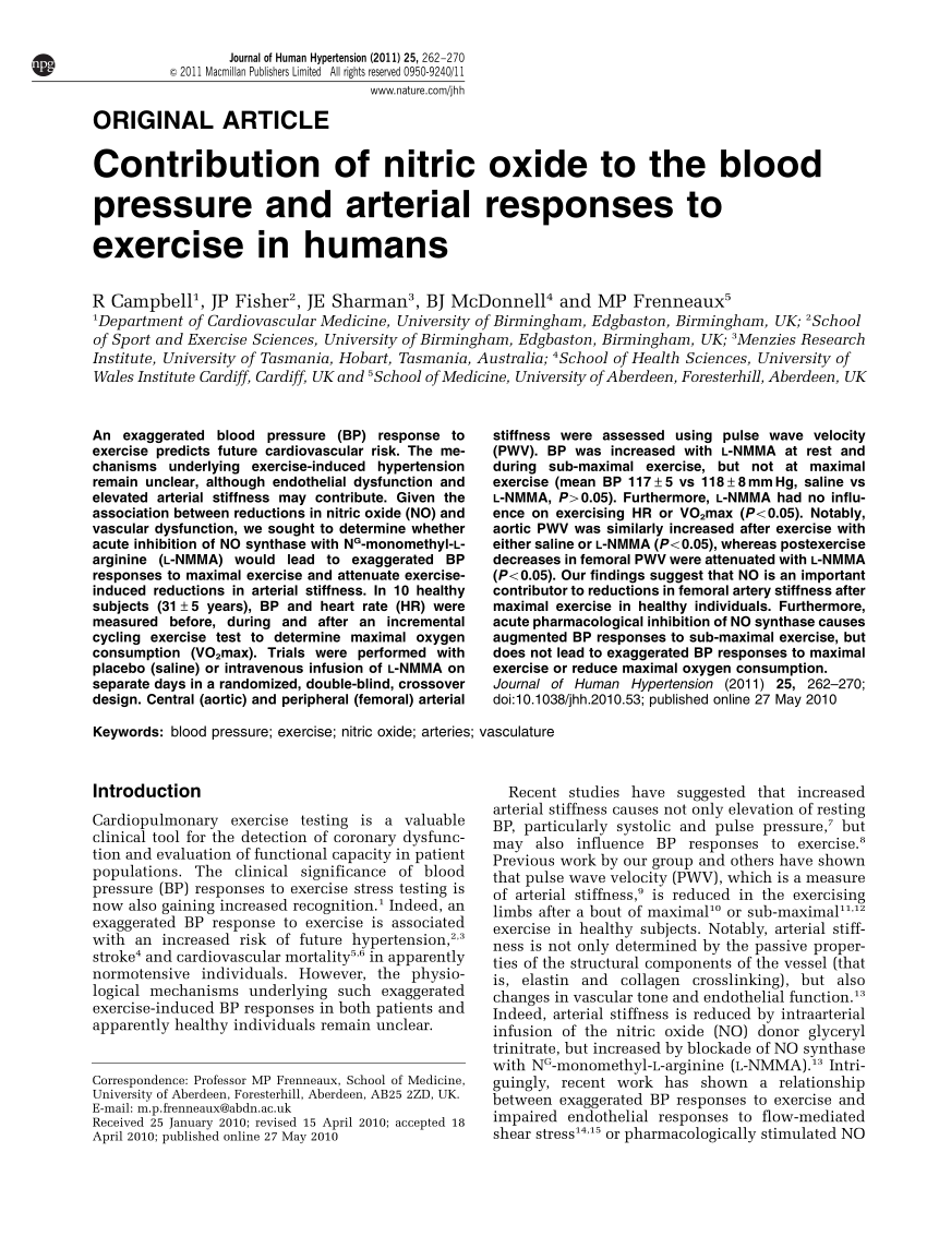 hight resolution of  pdf contribution of nitric oxide to the blood pressure and arterial responses to exercise in humans