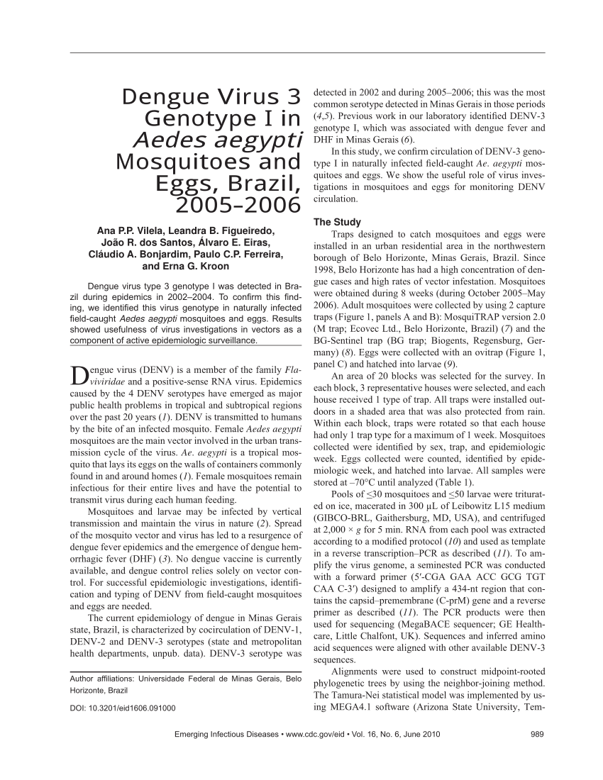 PDF) Dengue Virus 3 Genotype I in Aedes aegypti Mosquitoes and ...