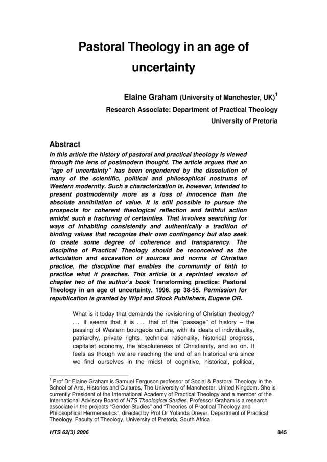 PDF) Pastoral Theology in an age of uncertainty