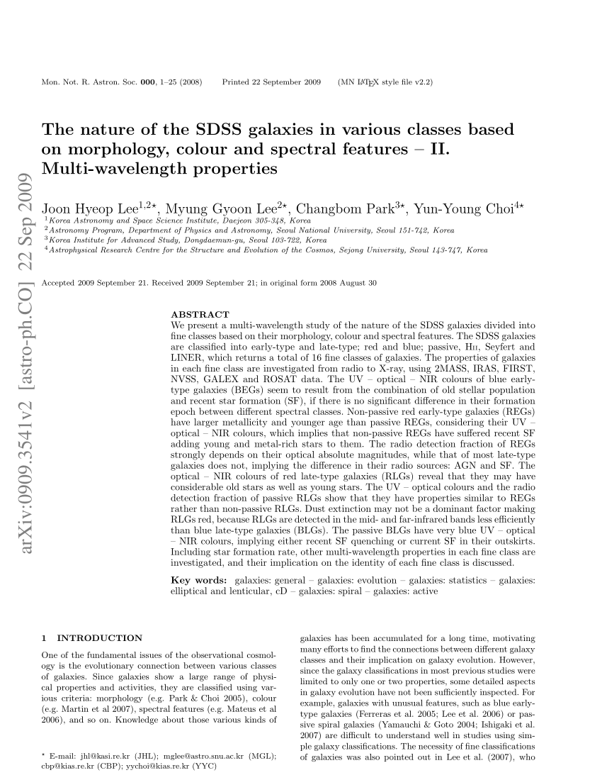 medium resolution of  pdf the nature of the sdss galaxies in various classes based on morphology colour and spectral features ii multi wavelength properties