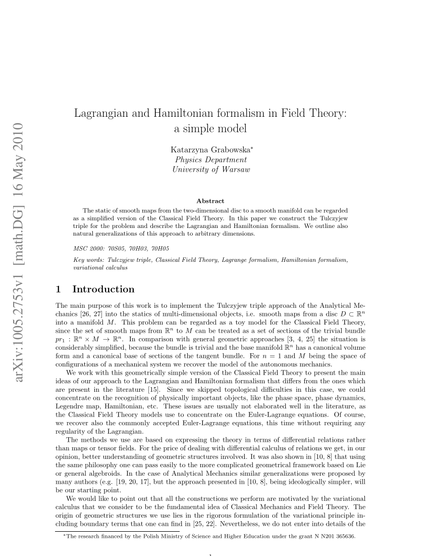 (PDF) Lagrangian and Hamiltonian formalism in Field Theory: A simple model