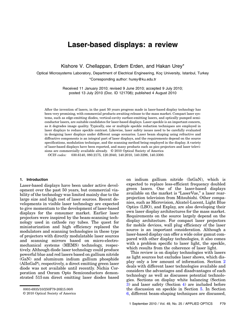 hight resolution of  pdf laser based displays a review