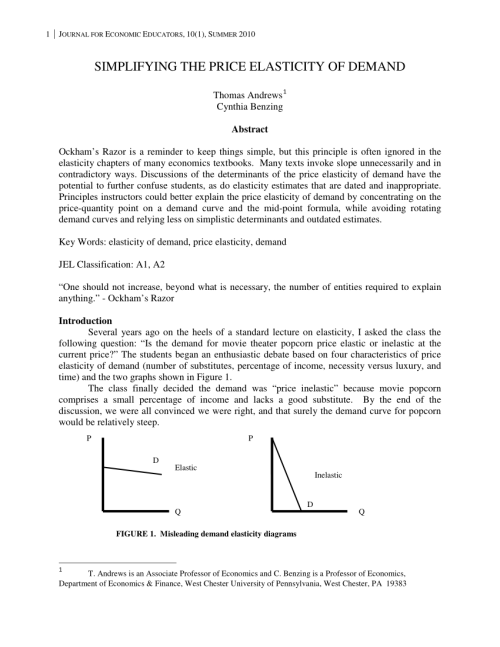 small resolution of  pdf simplifying the price elasticity of demand