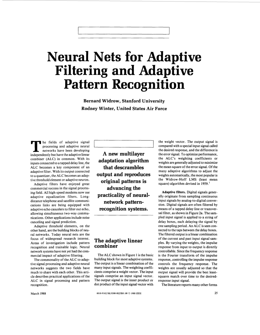 (PDF) Neural Nets for Adaptive Filtering and Adaptive