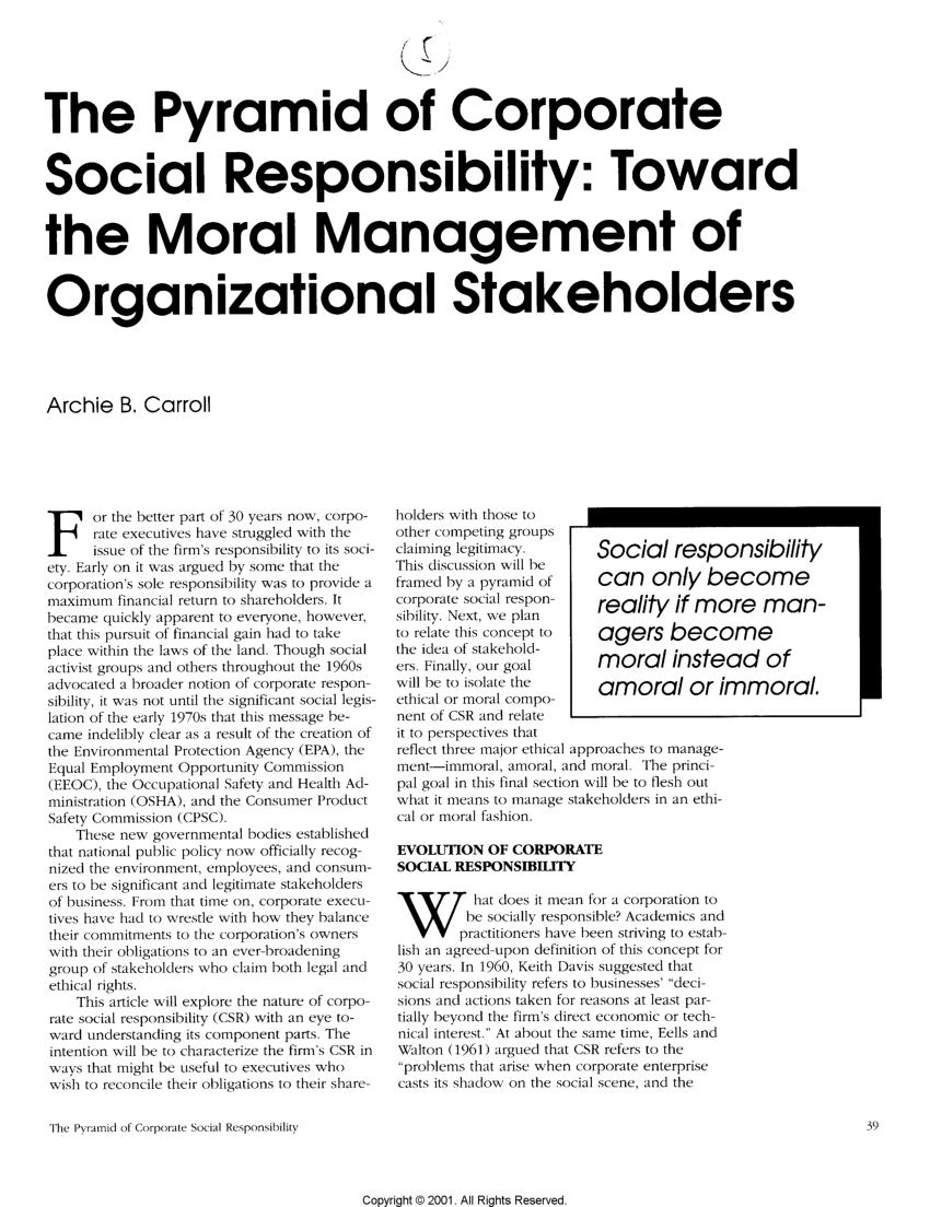 (PDF) The Pyramid of Corporate Social Responsibility