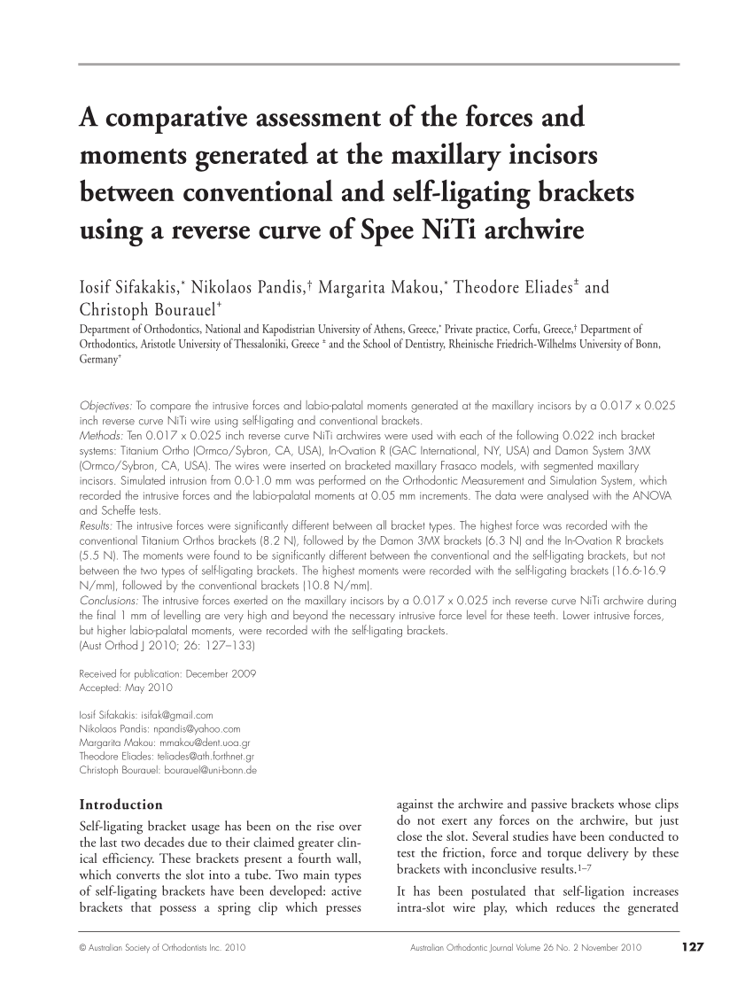 medium resolution of  pdf a comparative assessment of the forces and moments generated at the maxillary incisors between conventional and self ligating brackets using a reverse