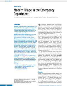 Pdf modern triage in the emergency department also rh researchgate