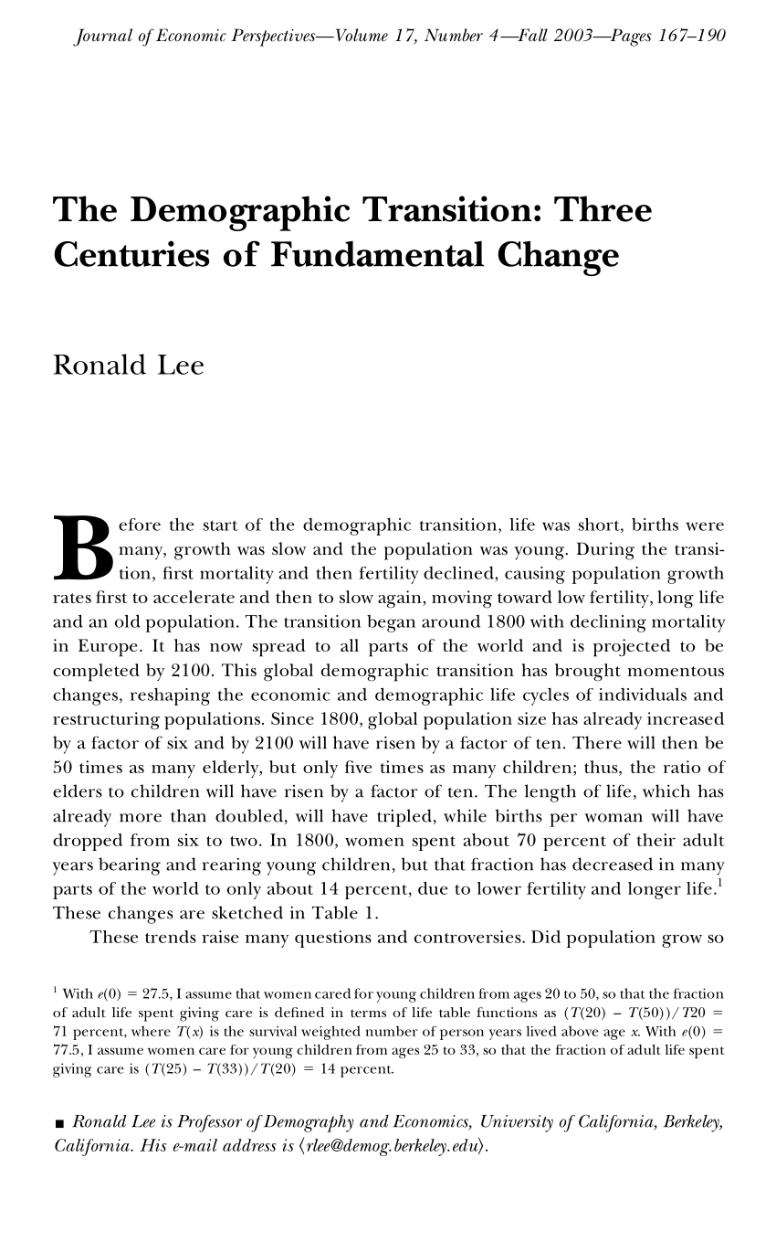 Hina Rendah Aib Tts : rendah, Demographic, Transition:, Three, Centuries, Fundamental, Change