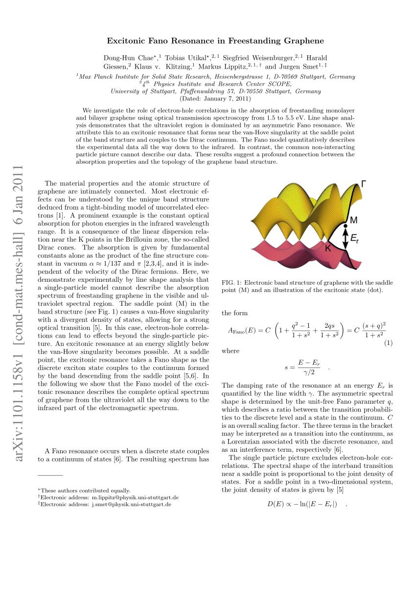 (PDF) Excitonic Fano Resonance in Free-Standing Graphene