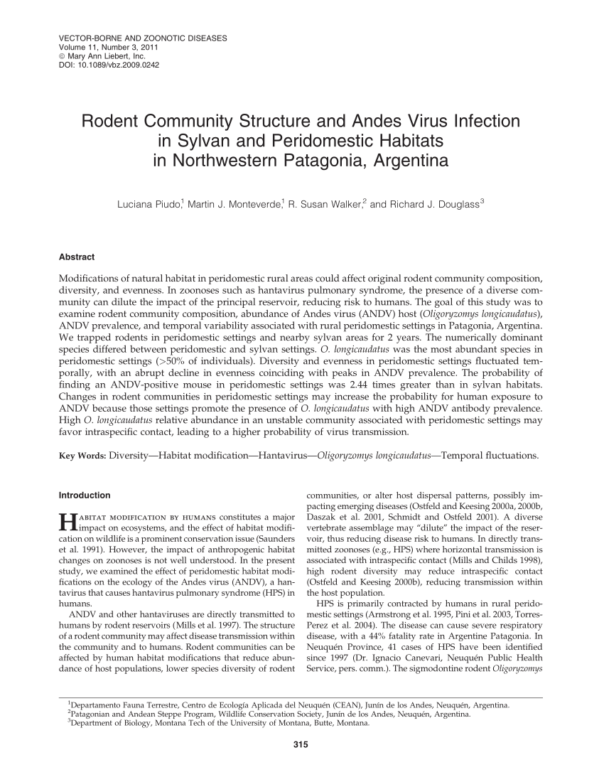 PDF) Rodent Community Structure and Andes Virus Infection in ...
