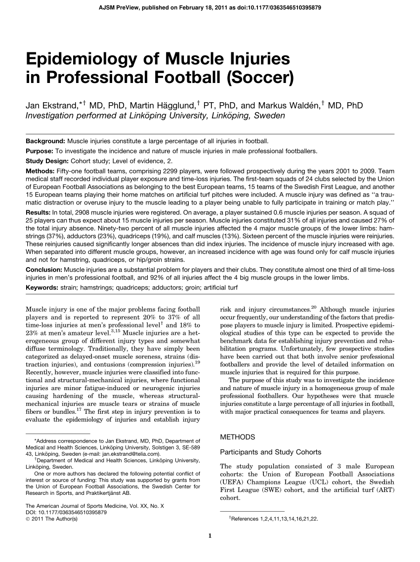 PDF Epidemiology Of Muscle Injuries In Professional Football Soccer