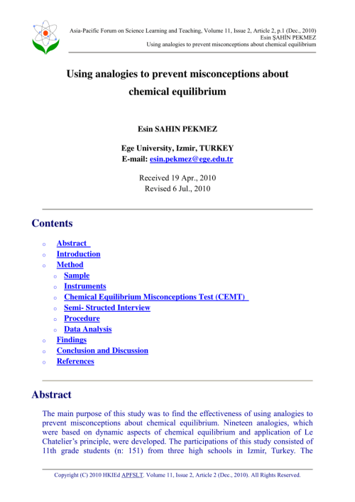 small resolution of PDF) Using analogies to prevent misconceptions about chemical equilibrium