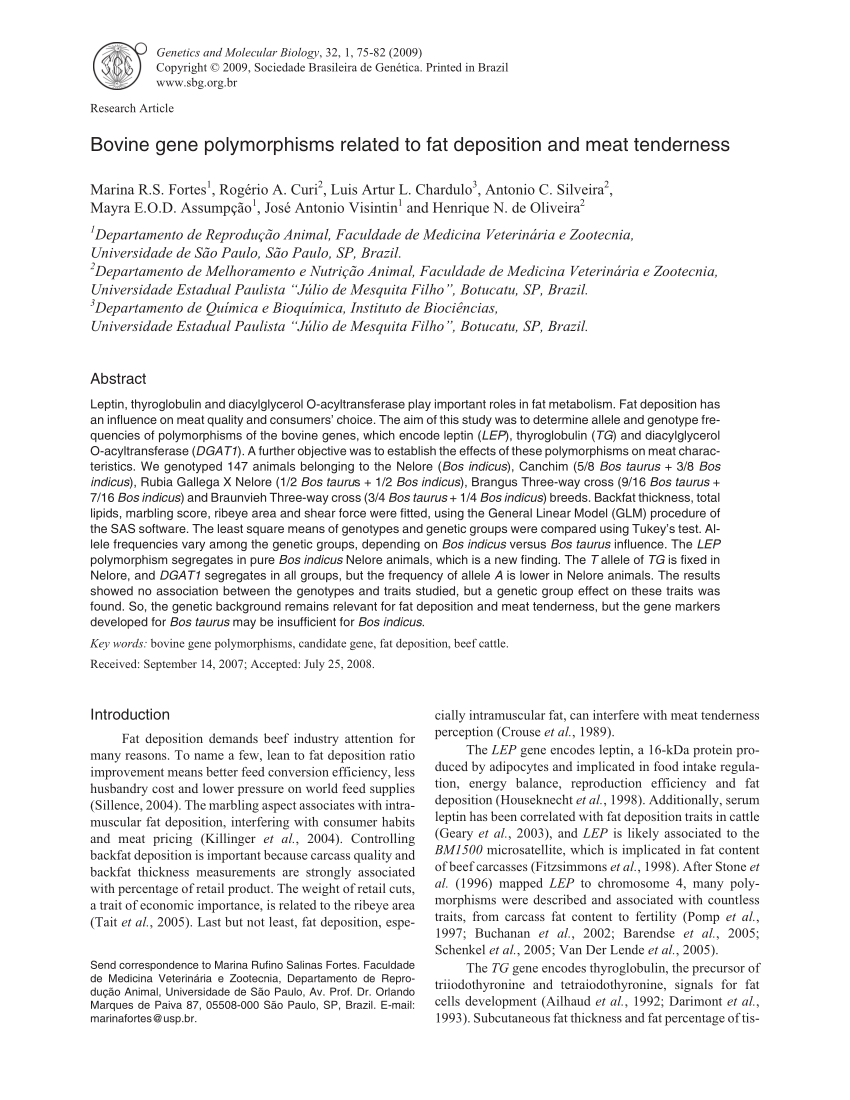medium resolution of  pdf the effect of sex and dgat1 gene polymorphism on fat deposition traits in simmental beef cattle