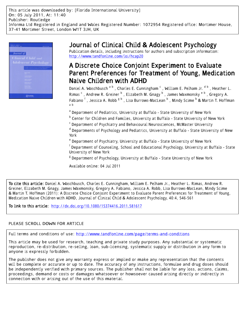 PDF A Discrete Choice Conjoint Experiment To Evaluate Parent