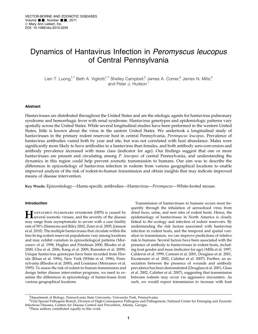 PDF) Dynamics of Hantavirus Infection in Peromyscus leucopus of ...