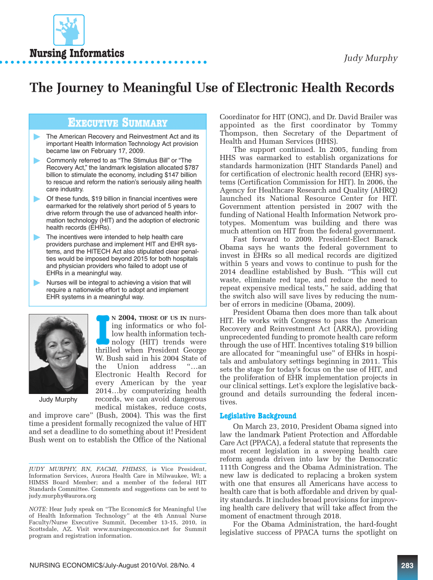 (PDF) The Journey to meaningful use of electronic health
